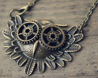 Steampunk Gear Owl Pendant