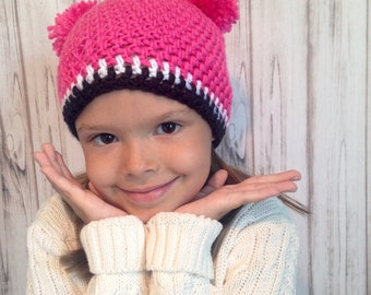 Pink Double Pom Pom Hat, Newborn to Womens hat-photography prop, winter hat, fall hat-crochet hat.
