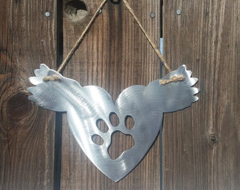 Metal Cold rolled  14 gauge steel Dog, pet, flying Heart wings show your love (Buy 4 Get One Free)