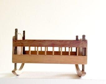 """Rocking Cradle Vintage Doll Furniture Bed For Small 9"""" Inch Doll Traditional Wood Design Babydoll Crib Mid Century Style Wooden Doll Cradle"""