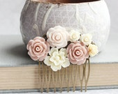 Blush Rose Hair Comb Floral Collage Romantic Bridal Shabby Country Bridesmaid Gift Summer Wedding Natural Color Nude Tones Vintage Style