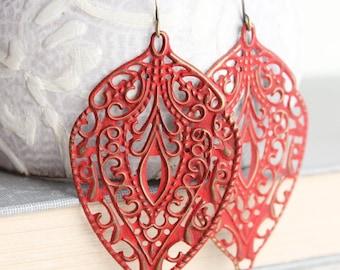 Rust Red Earrings Red Patina Big Filigree Earrings Long Earrings Boho Fashion Autumn Dangle Earrings Hippie Chic Colorful Statement Jewelry