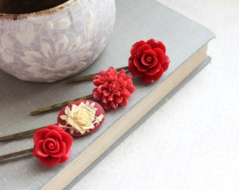 Red Flower Bobby Pins Chrysanthemum Floral Hair Pin Red Rose Hair Slides Cameo Bobbies Vintage Style Christmas Valentines Day Set of Four(4)