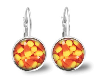 Halloween Jewelry Halloween Earrings Holiday Jewelry Beaded Jewelry Candy Corn Earrings Orange Earrings Orange Jewelry Silver Jewelry Brass