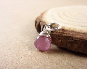 Pink Sapphire Pendant - Sterling Silver Charms - Sapphire Birthstone Jewelry - Natural Stone Jewelry - September Birthstone Charms