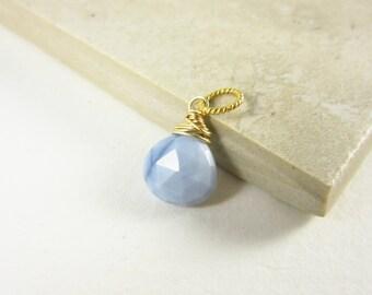 LgLt - 14k Gold Charms - Light Blue Peruvian Opal Pendant - Something Blue Opal Charm - Blue Opal Jewelry Handmade - Natural Stone Jewelry