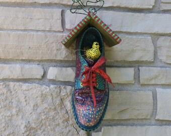 Vintage Bird House Birdhouse Shoe Birdhouse Kitsch Man's Wingtip Shoe Garden Decor Shoe Lover Gift Hand Made Hand Crafted