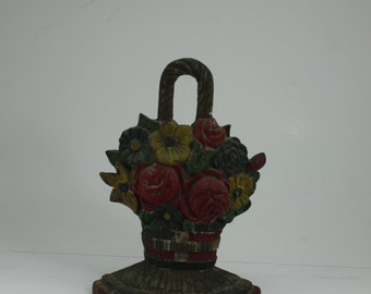 Vintage Cast Iron Floral Flower Woven Handled Basket Doorstop Red Green Yellow Hubley Original Paint Shabby Cottage French Style Decor