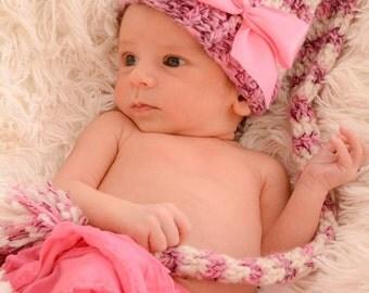 Baby Girl Hat - Pixie Hat - Baby Pixie Hat - Elf Hat - Baby Girl Long Tail Hat-  Girl Hat- Baby Elf Hat  -by JoJosBootique