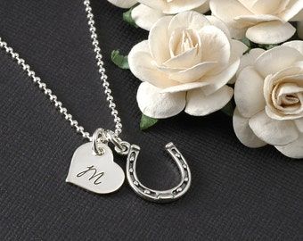 Horseshoe Necklace with personalized heart disc - sterling silver