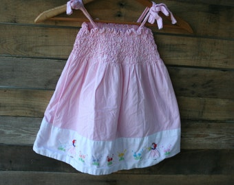 Vintage Pink & White Smocked Gingham Dress With Flower Girls