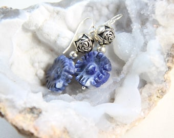 Sodalite Blue Gemstone Earrings and Rose bud Ball Spacers 925 Sterling Silver French wire hooks