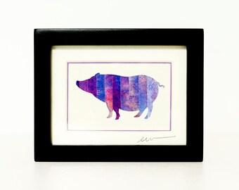 Potbelly Pig Paper Cut Silhouette - Miniature Original Collage