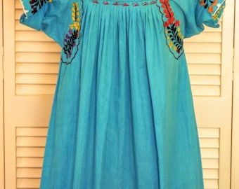 Mexican Dress, Embroidered Womens Dress, Traditional Mexican Dress, Long Blue Colorful Dress, Size Small 5 7