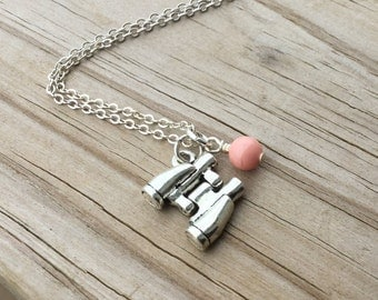 Binoculars Necklace -Binocular Charm with an accent bead in your choice of colors