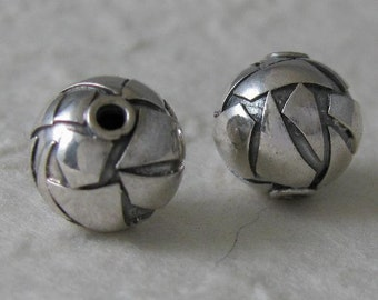 2 Sterling Silver Contemporary Layered Round Beads -  - 9mm MB12
