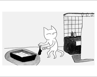 "Bad Kitty (Litter) - fine art print 5""x7"""