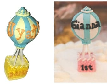 Cake Hot Air Balloon Cake Topper First Birthday Personalized Custom Keepsake with Name Age and Date