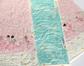 Baby Quilt Girl Bedding Blanket Baby Crib Shabby Chic Pink Blue Unicorn Magic Parade Horses Gold Glitz I Love You to the Stars