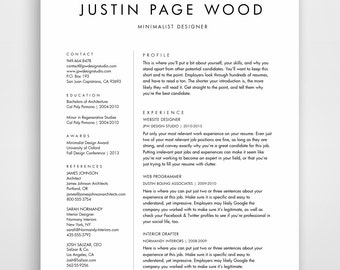simple resume template clean resume simple resume resume template instant download resume - Minimalist Resume Template