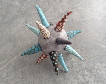 Modern baby teething toy - Sensory strar ball - geometric modern Infant Toy in gray blue brown shades  -  Plushie Softie Cloth Spikes star