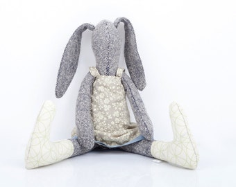 READY TO SHIP Stuffed bunny doll , gray knitted silk rabbit doll ,Ivory beige floral dress & socks- handmade stuffed hare softie plush bunny