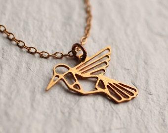 Hummingbird Bird Necklace .. Geometric Vintage Copper Brass