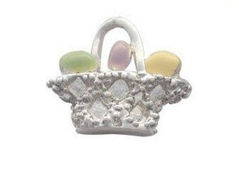 Silver Plated, Enameled, Easter Egg Basket Charm, Qty: 1