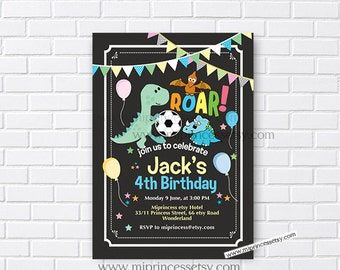 Dinosaur invitation, football Birthday Invitation 1st 2nd 3rd 4th 5th 6th 7th 8th 9th 10th  kids birthday invitation chalkboard  - card 410