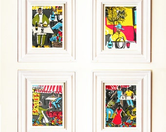 1950's Cote d'Azur 4 Prints Special Offer