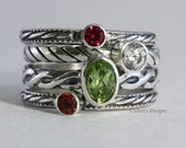 4 Gemstones, Oval and round gems, Birthstone Stacking Ring Set, Sterling Silver, custom made jewelry
