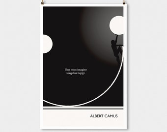 """Literary Art Print, """"Albert Camus """" Large Wall Art Posters, Literary Quote Poster, Illustration, Minimalist Prints, Bookish Gift for Writer"""