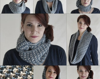 PDF Hand Knitting Pattern Long Cowl Two Color Texture Stitching 'Pebbles' Instant Download