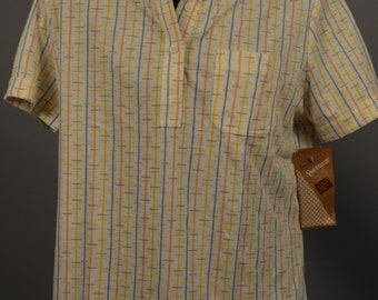 Vtg Deadstock Sears The Fashion Place Striped Polo Shirt NWT