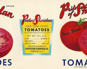 Pride of Sheridan Tomatoes Vintage Can Label, 1950s