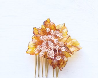 Maple Leaves Swarovski Crystals Hair Slide Hair Comb // Fall Wedding Hairpiece