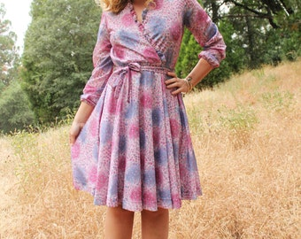 SUGAR 1970's Vintage Mod Dress  Kitsch Classic Retro Pink and Purple Mini Dress Circle Skirt