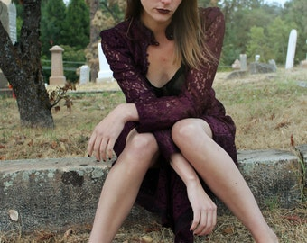 RHIANNON Vintage Tunic Rad 90s Lace Vamp Dress Purple Button Down Size 11/12