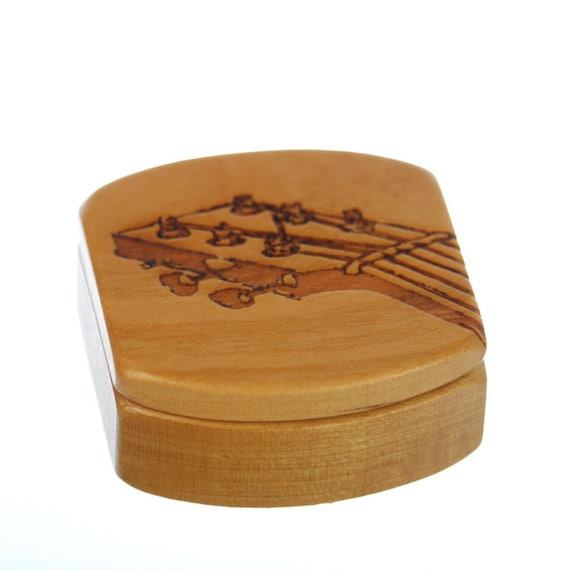 """Guitar Fret Wooden Pick Box, Solid Cherry, 1-3/4""""L x 1-7/8""""W x 7/8""""D, Patter MS21 Guitar Fret, Paul Szewc, Masterpiece Laser"""