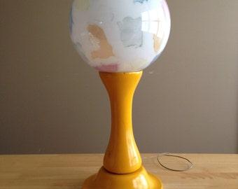 Mid Century Modern Murano Glass Globe and Wood Stand Table Lamp Italian
