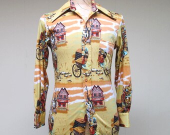 Vintage 1970s Shirt / 70s Mens Novelty Print Disco Shirt / Small