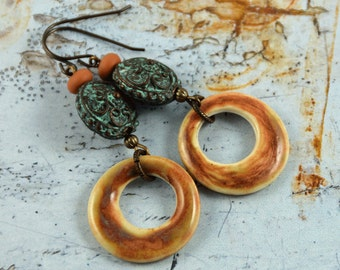 Bohemian Chic Orange Brown Green Rustic Earthy Earrings