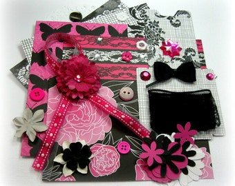 Teresa Collins Posh Hot Pink White and Black, Inspiration Kit, Embellishment Kit for Scrapbooking Cards Mini Albums Tags and Paper crafts 2
