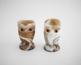 Vintage Imperial Caramel Slag Glass Owl Creamer and Holder Funky 1970s Collectible