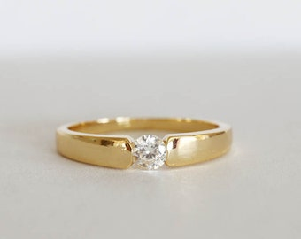 cz 18 kt gold filled ring stacking ring size 65 fake diamond ring engagement ring - Fake Wedding Ring