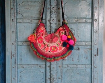 Vintage Hmong Fabric Tribal crossbody bag Hand embroidery Birds and flowers Ethnic Fahsion