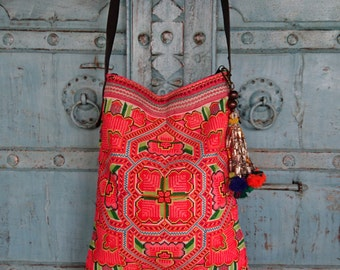 Vintage Hmong Ethnic Fabric Tribal Crossbody bag Hand crafted embroidery Fashion Messenger