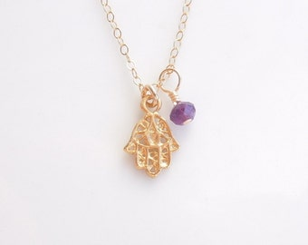 Hamsa Necklace with Amethyst in Gold