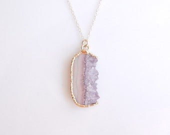 Raw Amethyst Druzy Necklace - Rare Pale Pink Coloring - OOAK Jewelry
