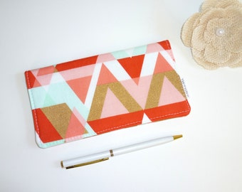 Checkbook Cover. Wallet. Receipt Holder. GeoTriangles in Mint, Coral, Gold